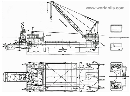 360 tons Floating Crane Barge with Notch tug (Pushing Ship) for Sale