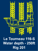 Jackup Rig for Sale - 250 ft Le Tourneau 116-S