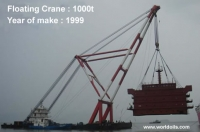 Self Propelled Used Floating Crane For Sale: 1000Ton